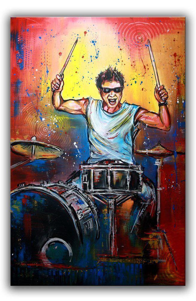 BURGSTALLER Musiker Bild Schlagzeugspieler Drummer Gemälde Malerei ...