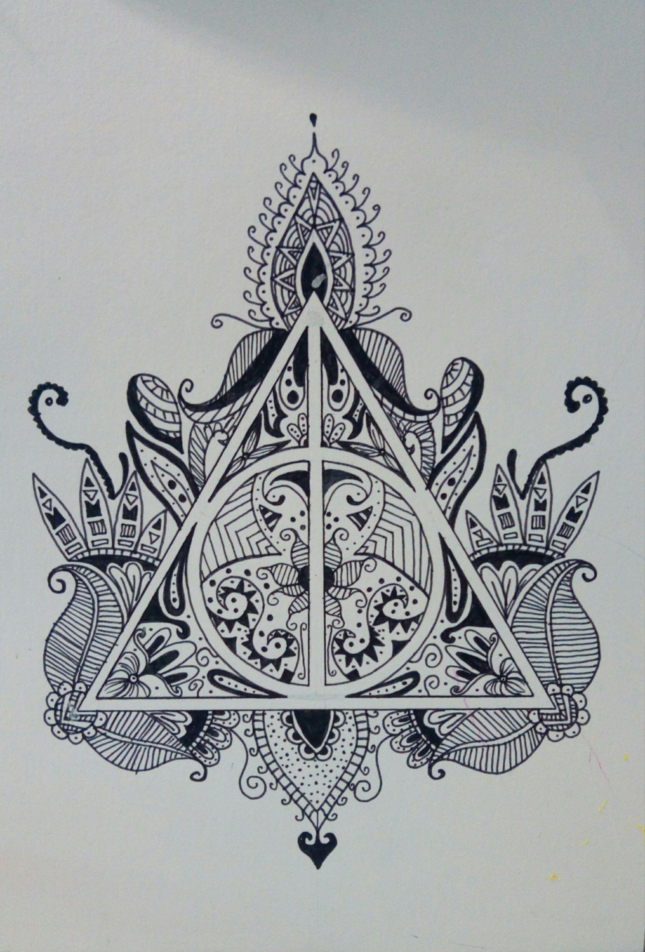 Dessin au feutre noir harry potter mandala tattoo ideas harry potter tattoos harry potter - Dessin mandela ...