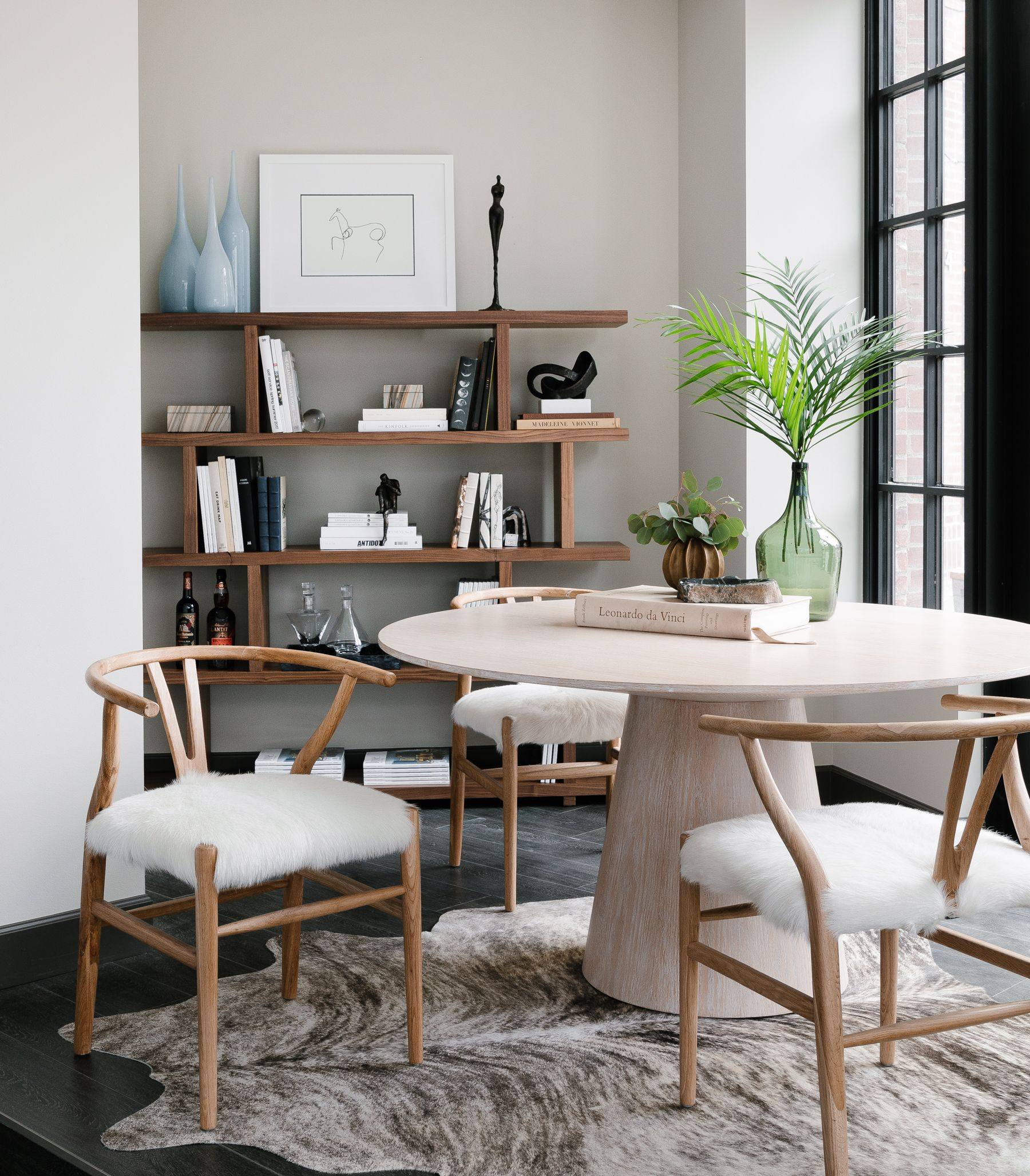 Arden Home Round Oak Dining Table Wishbone Chairs With Cowhide Round Oak Dining Table Oak Dining Table Cheap Living Room Decor