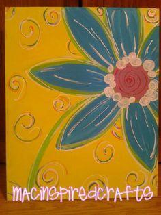 Easy Single Daisy Colors Acrylic Painting