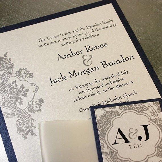 Items Similar To Elegant Wedding Invitations Navy And Silver Monogram Bellevue Ribbon Belly Band Sample Kit