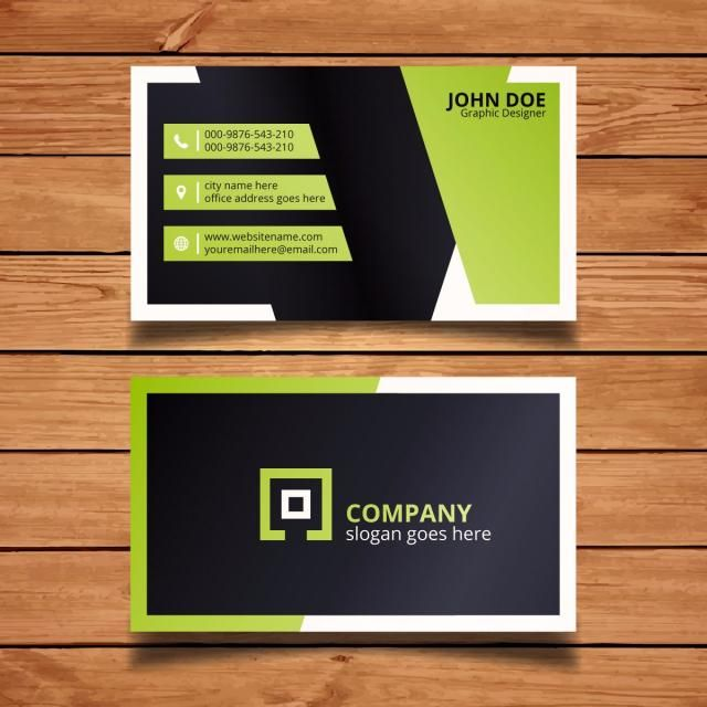 Green minimal blackbusiness card creative template design modern green and black business card free vector reheart Image collections