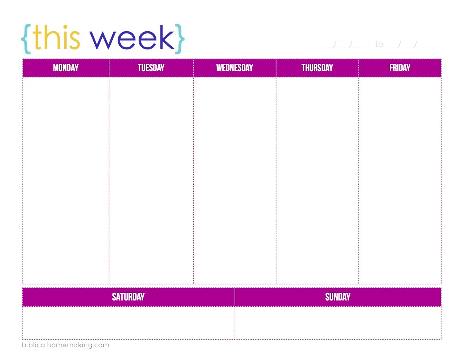 This Week Cute Free Weekly Planner Printable  Christian
