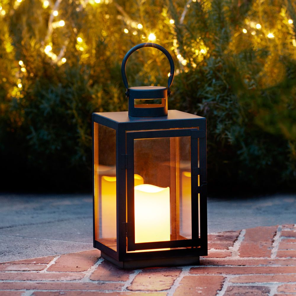 Black Metal Battery Operated Outdoor Led Flameless Flicker Candle Patio Lantern Home Garden Yard Garden Outdo Outdoor Lanterns Candle Lanterns Lanterns