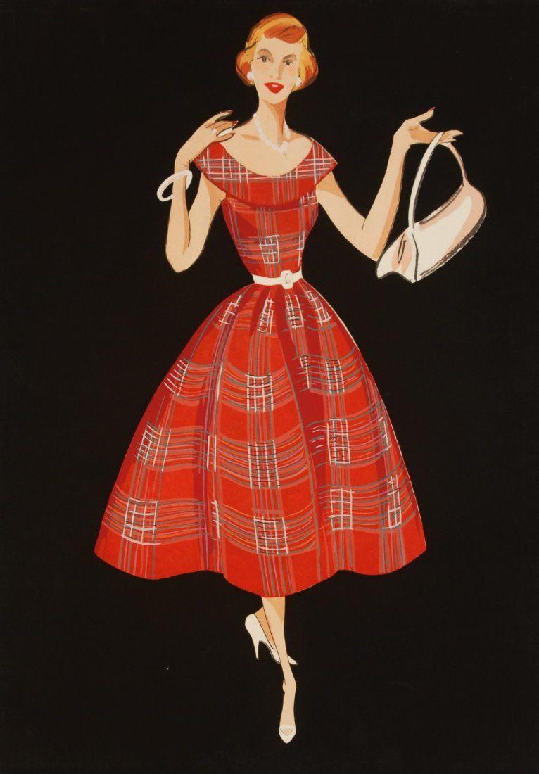 302 Fashion Illustrations 1950 S Folio Of Original G On