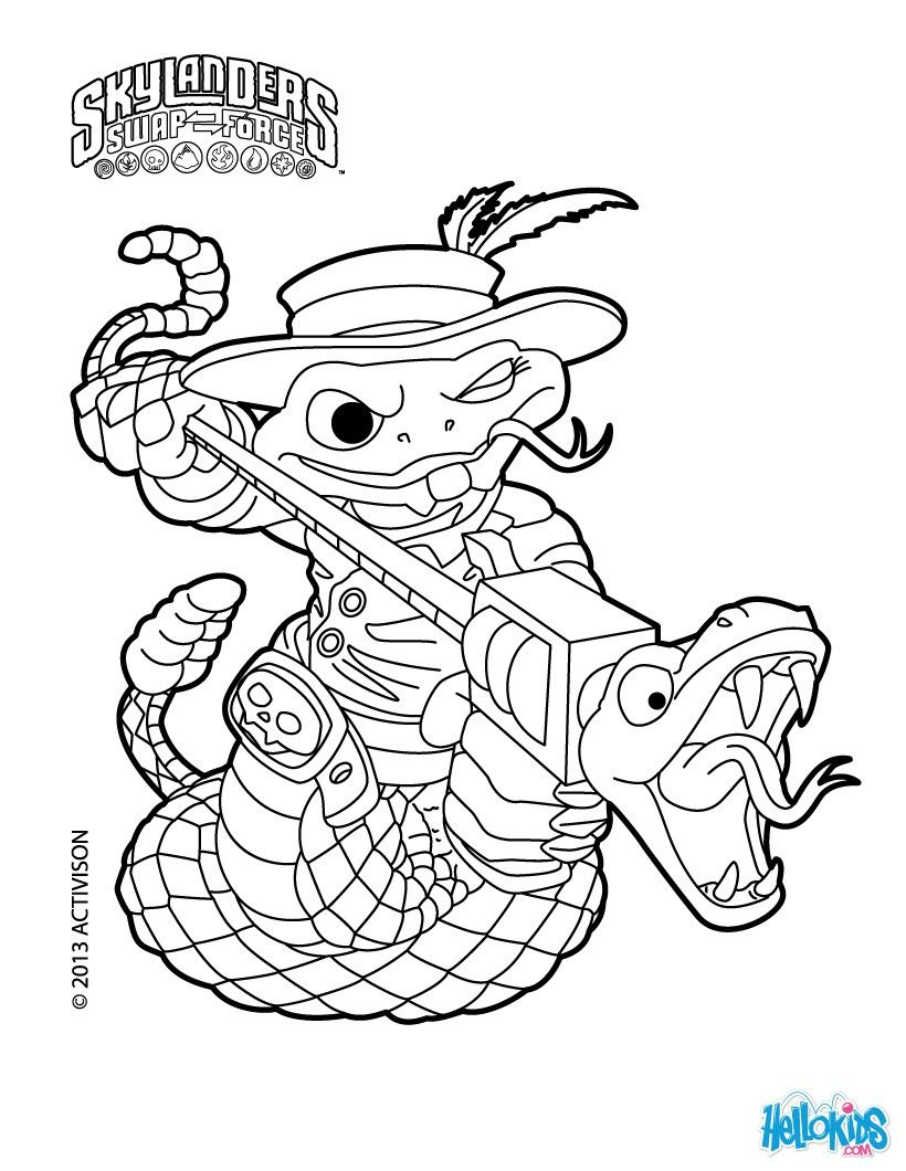 Skylanders Swap Force Coloring Page For Kids Rattle Shack Coloring Sheet Coloring Pages Skylanders Coloring Pages For Boys