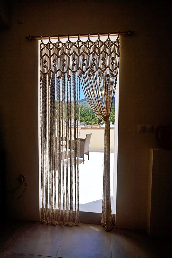 Macrame curtain, macrame backdrop, bedroom curtain