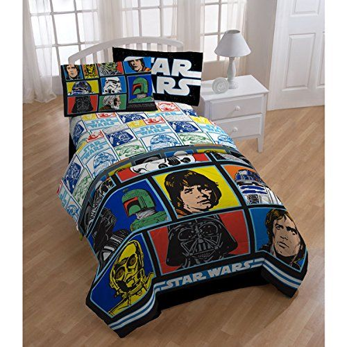 5 Piece Kids Star Wars Themed Comforter Twin Set, Classic Movie Bedding For Star  Wars Fans Featuring Darth Vader, R2D2, Luke Skywalker, Grid Pattern, ...
