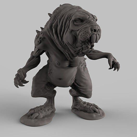 Mutant Mole Rat 3D Printed Resin Miniature