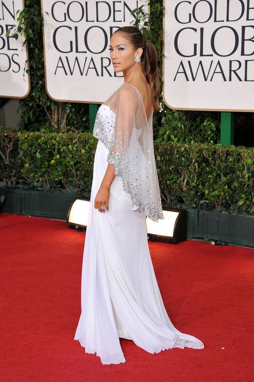 2ac6951a32b4 Jennifer Lopez White Chiffon Prom Gown Celebrity Dress Golden Globes 2011