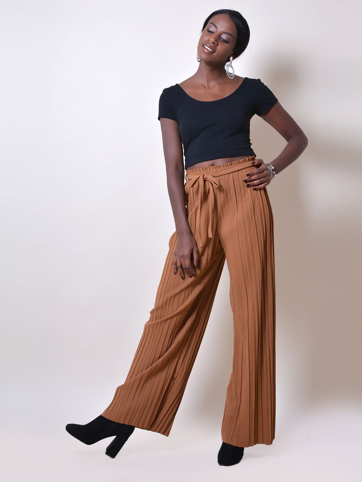 PA7367 Παντελόνα Πλισέ Ελαστική με Ζωνάκι - Decoro - Γυναικεία ρούχα ... 9311cf1b392