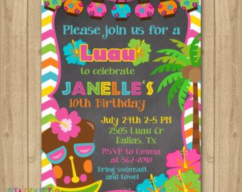 Luau Birthday Invitation Party By StardustEvents