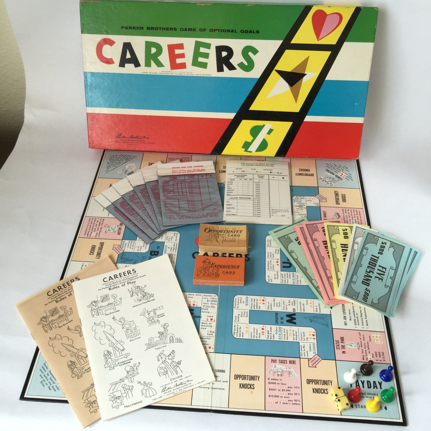 Careers Board Game Vintage Complete Fun Family Game 1958