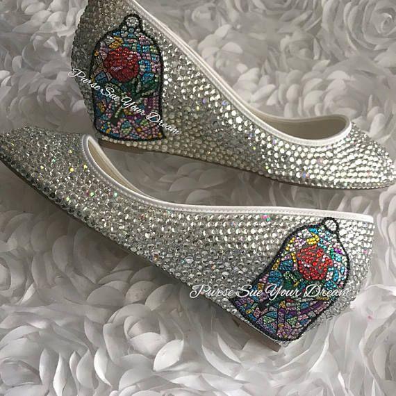 29d4abeeb5dc Swarovski Crystal Bridal BEAUTY and THE BEAST Inspired Wedding Heels -  Enchanted Rose - Wedding Shoe