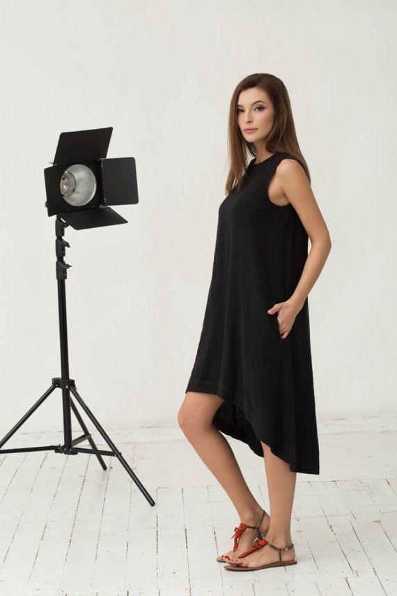 603653f1de Black linen dress. Loose fitted asymmetric dress. by MagicLinen ...