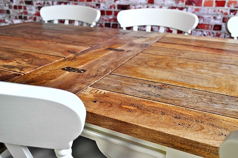 Extending rustic farmhouse dining table set drop leaf