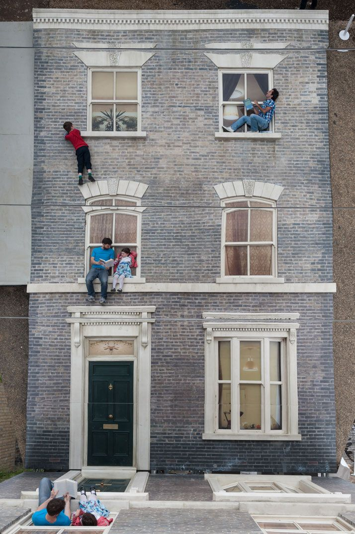 The 'Dalston House' By Leandro Erlich / © Gar Powell-Evans 2013 Courtesy of Barbican Art Gallery / http://www.yatzer.com/Dalston-House-Leandro-Erlich