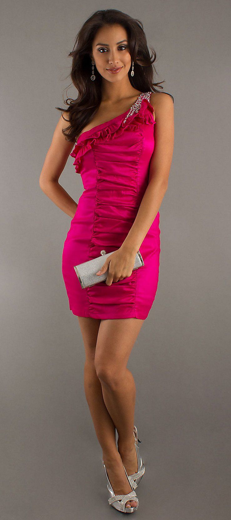 Short fuchsia cocktail dress one shoulder rhinestones ruched skirt