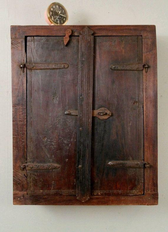 Reclaimed Teak Wood Antique Indian Shutter Two Door