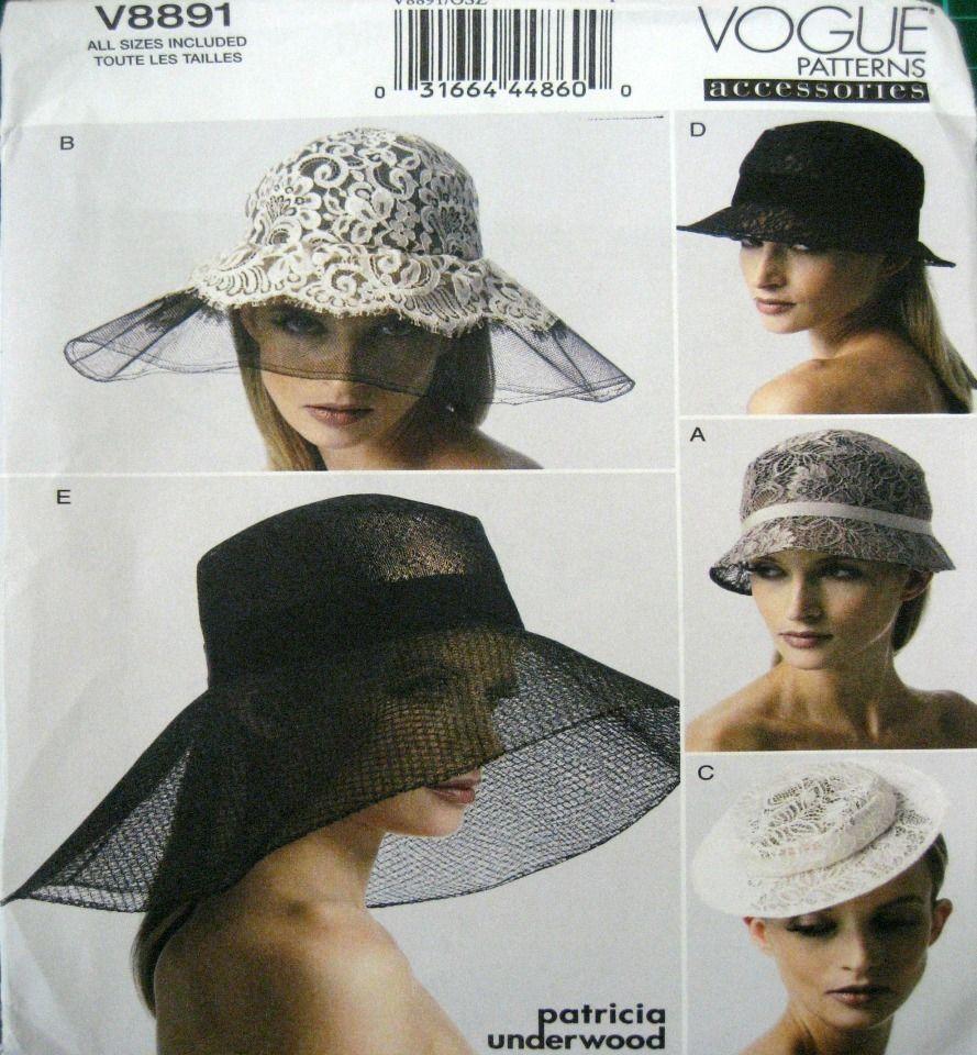 Vogue Sewing Pattern 8891 Vintage Retro Ladies Hat Hats Fasinator ...