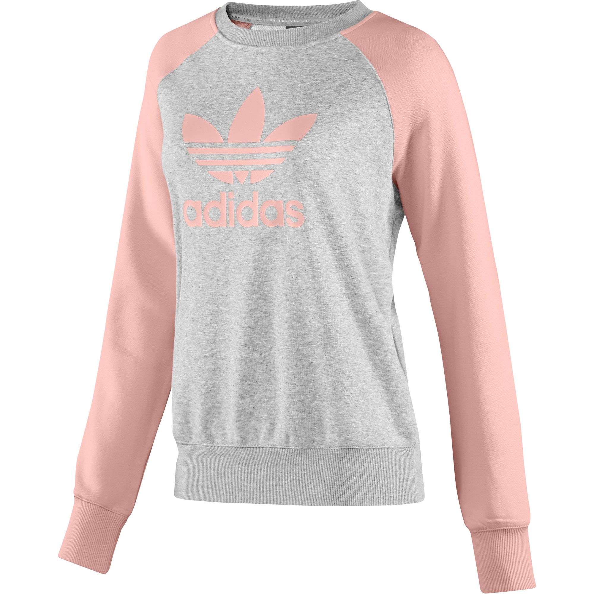 Womens Fun Colorblock Sweater, medium grey heather / haze coral ...