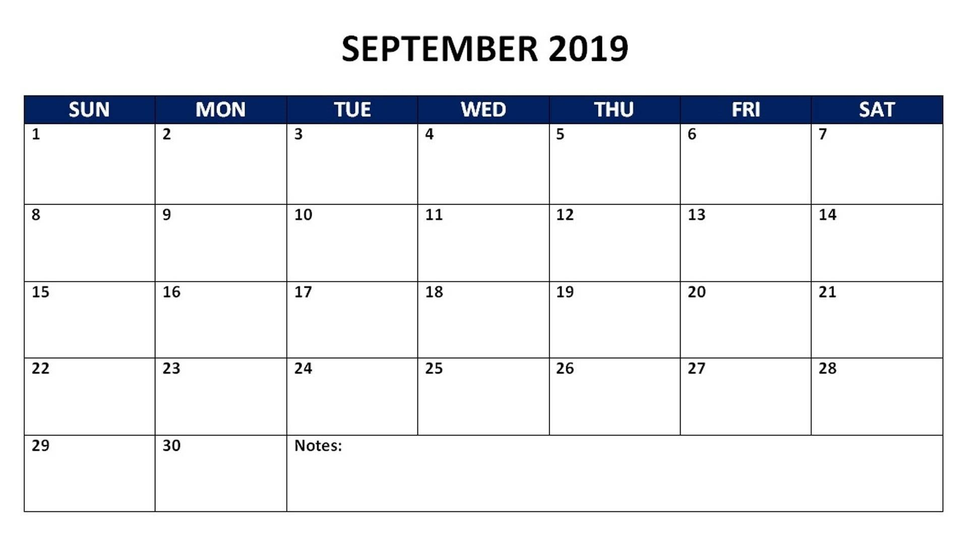 September 2019 Monthly Calendar 2019 Calendars Calendar 2019