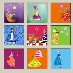 Quadri per bambini 30x30 per 9 pannelli 17 013b quadri per bambini children - Quadri per camera bambini ...