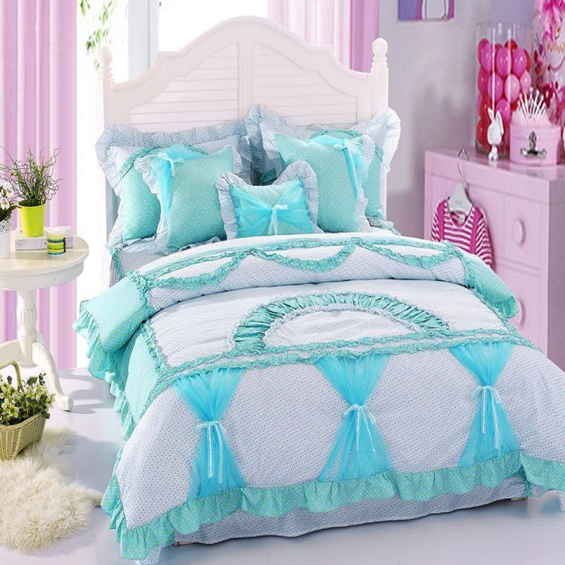 Aliexpress Com Buy 100 Cotton Bedding Set Korean Lady Style Duvet Cover Rural Princess Comforter Ruffle Lace 4pc Qu Blue Bedding Sets Bedding Sets Girl Beds