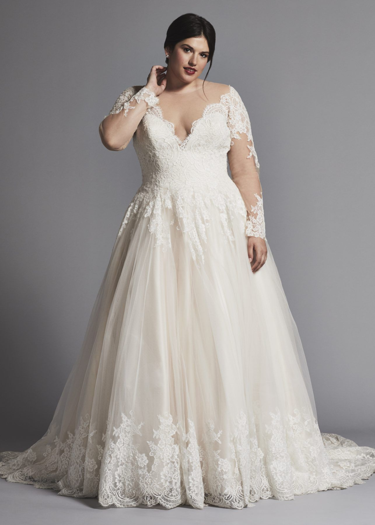 5492ea48c2e6 Plus-size wedding dress A-LINE LACE WEDDING DRESS WITH ILLUSION LONG SLEEVES  by DANIELLE CAPRESE