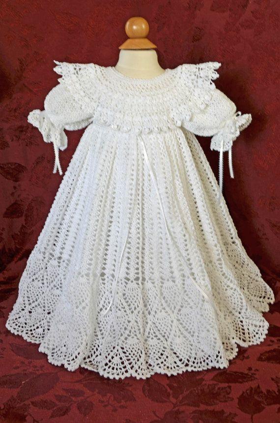 Blanco de bautizo / bendición vestido y Slip por CherryHillCrochet ...