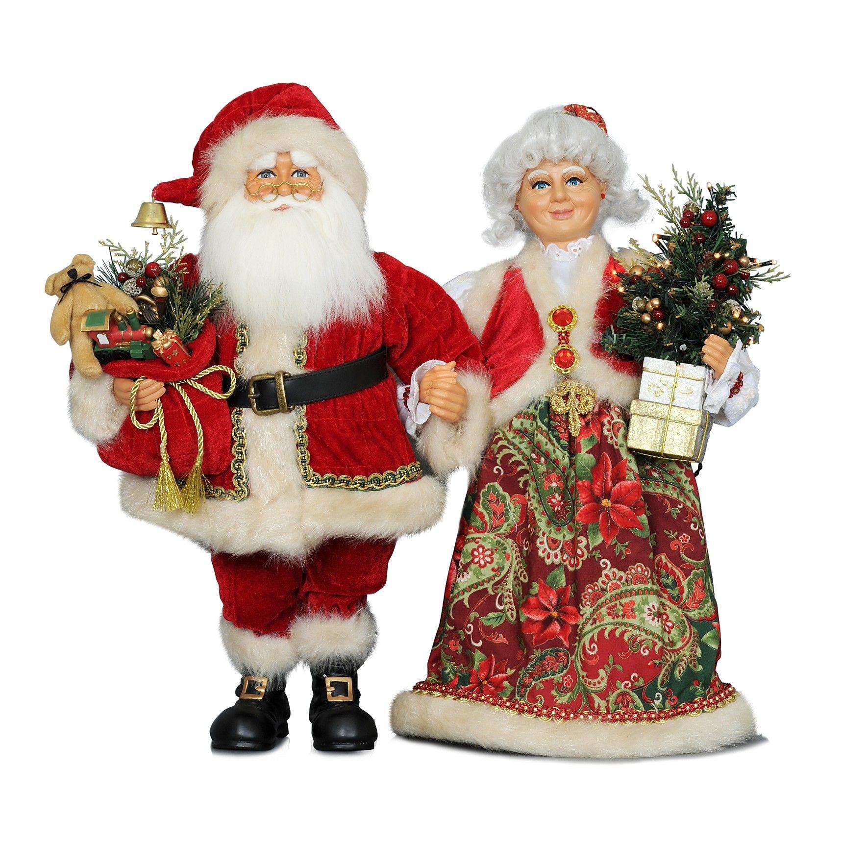 Mr and mrs claus ornaments - Karen Didion Originals Mr Mrs Claus Figurines