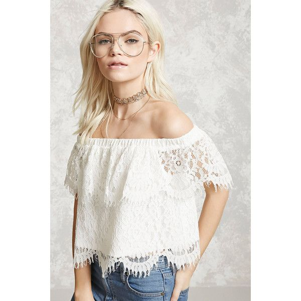 5130aef2ca4 Forever21 Lace Off-the-Shoulder Top ($16) ❤ liked on Polyvore featuring tops,  white, white off shoulder top, off shoulder lace top, forever 21 tops, ...