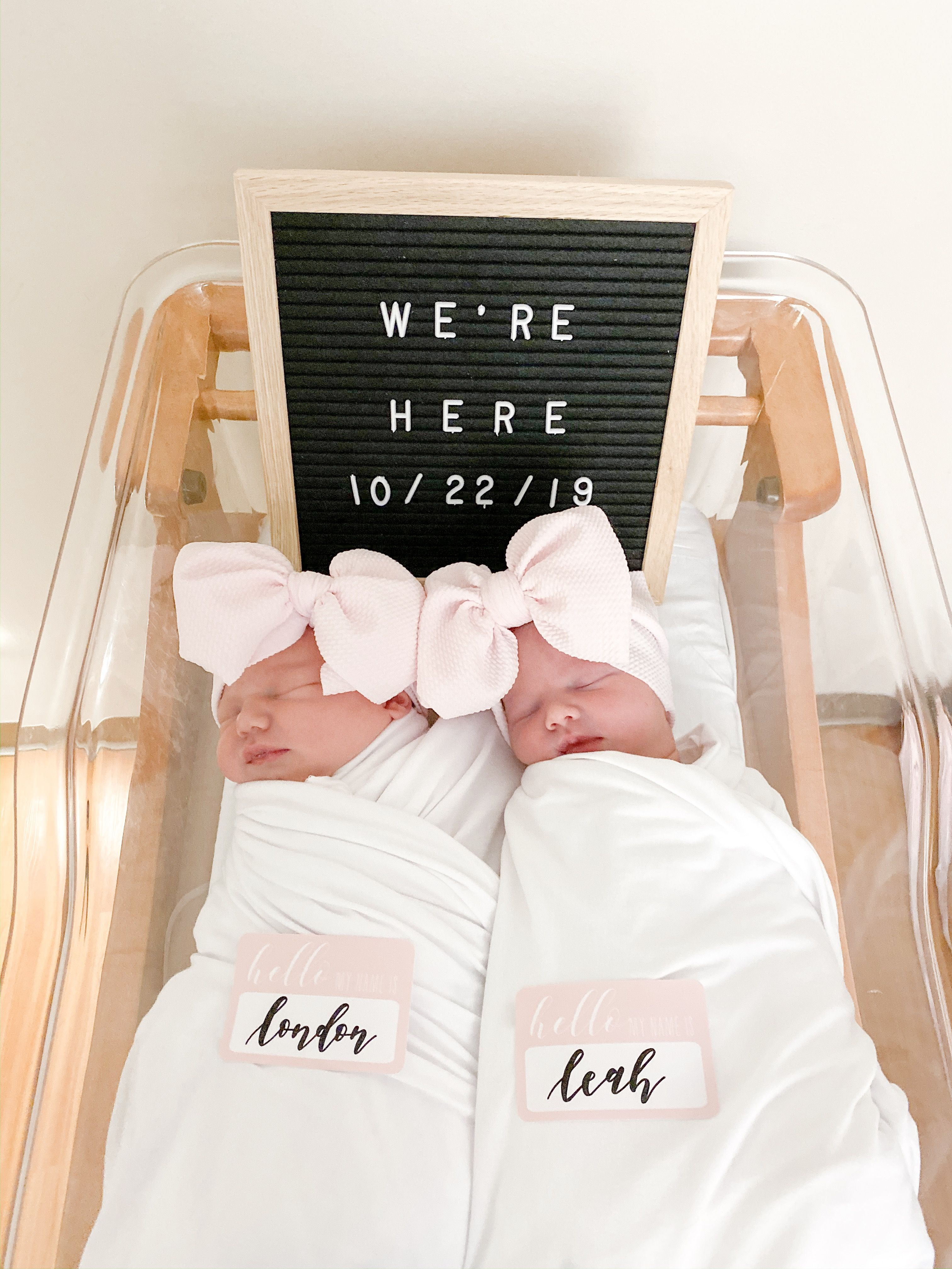 Twin announcement. Letter board. Baby girls. Newborn pic