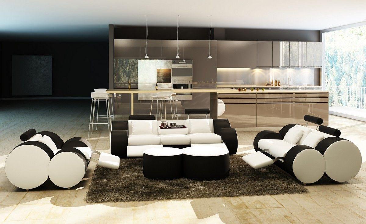 Divani Casa 3089 Modern White and Black Leather Sofa Set and Ottoman