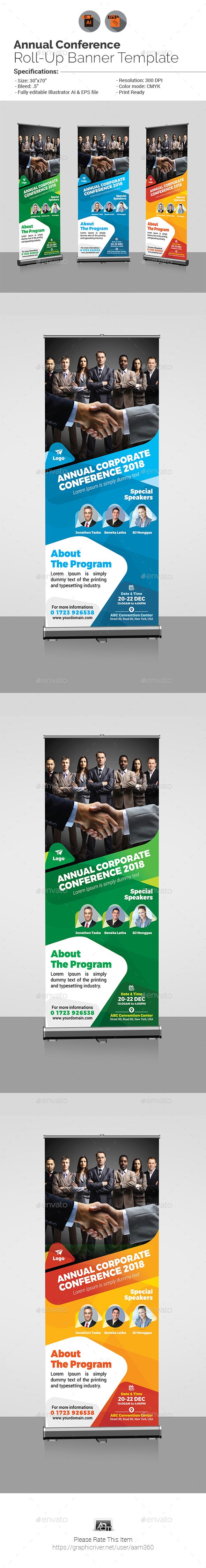 Annual Corporate Conference Roll-up Banner Design Template - Signage Ads Banner Design Print Template Vector EPS, AI Illustrator. Download here: https://graphicriver.net/item/annual-corporate-conference-rollup-banner/19447133?ref=yinkira