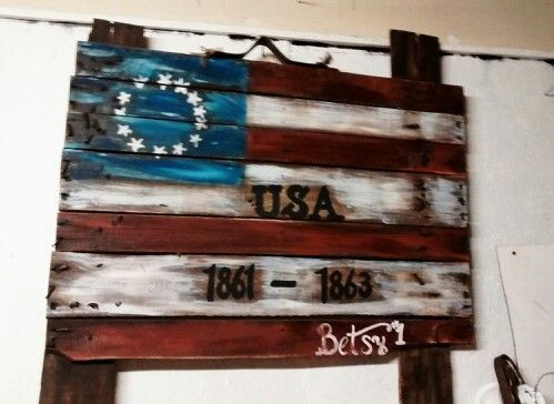 Primitive American Ross flag hand painted