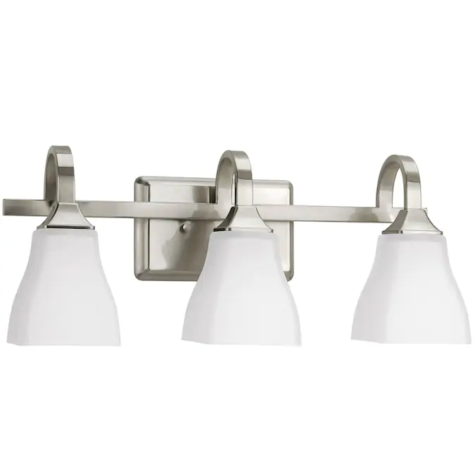 Delta Olmsted 3 Light Nickel Transitional Vanity Light Lowes Com Bathroom Light Fixtures Vanity Lighting Bathroom Lighting