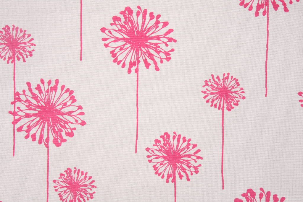 Contemporary/Retro Prints :: Premier Prints Dandelion Printed Cotton Drapery Fabric in White/Candy Pink $7.48 per yard - Fabric Guru.com: Fabric, Discount Fabric, Upholstery Fabric, Drapery Fabric, Fabric Remnants, wholesale fabric, fabrics, fabricguru, fabricguru.com, Waverly, P. Kaufmann, Schumacher, Robert Allen, Bloomcraft, Laura Ashley, Kravet, Greeff