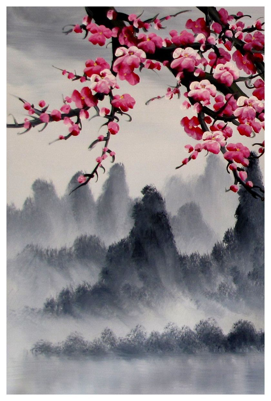 Cherry Blossom Art Print Cherry Blossom Wall Mural Cherry Blossom Japanese Art Set Cherry Blossom Art Blossoms Art Cherry Blossom Painting