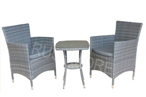 RATTAN GARDEN FURNITURE GREY COMPANION CHAIR & TABLE BISTRO PATIO ...
