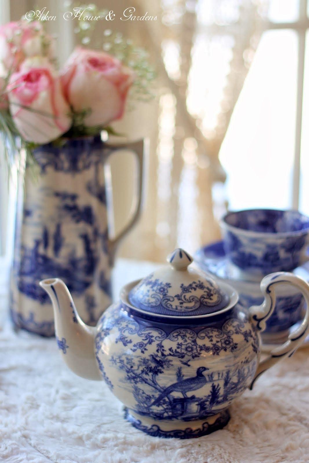 Blue white transferware winter tea aiken house gardens azul y blanco porcelana azul - Vajilla rustica ...
