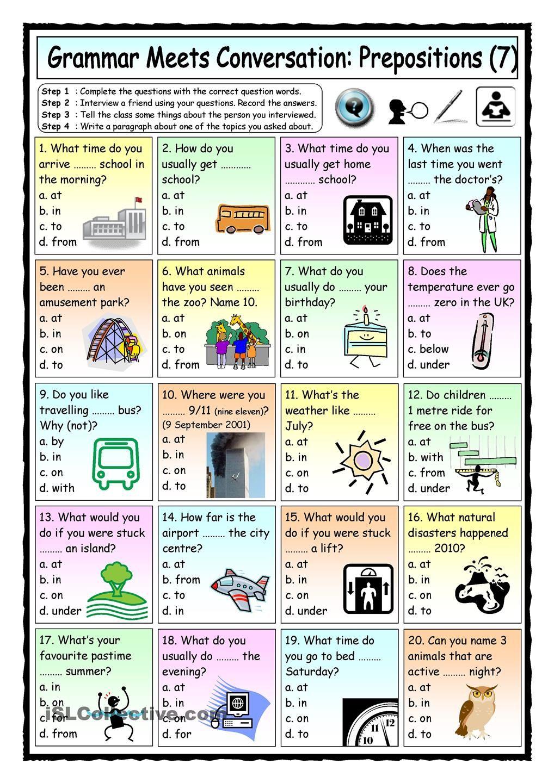 medium resolution of Grammar Meets Conversation: Prepositions (7) - Asking Questions   Learn  english