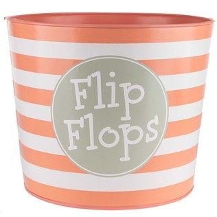 Coral & White Stripe Flip Flops Metal Bucket Shop Hobby