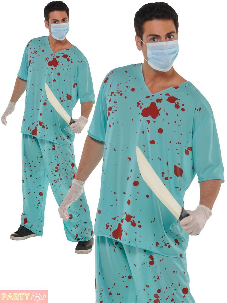 Mens BLOODY SURGEON Doctor Adult Gents Scary Fancy Dress Halloween Costume