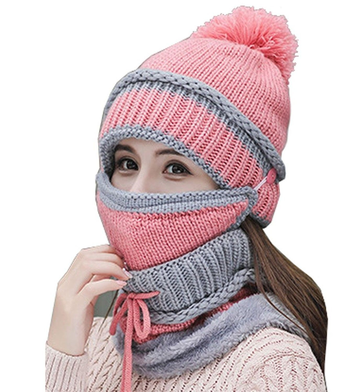 Pink hat Knitted cowl Circle Scarf pink beanie hat Pink hat for women winter hat Unique handmade scarves Beanie hat