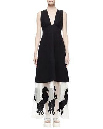 Sleeveless Tuxedo Dress W Horse Hem Black By Stella Mccartney At Neiman Marcus