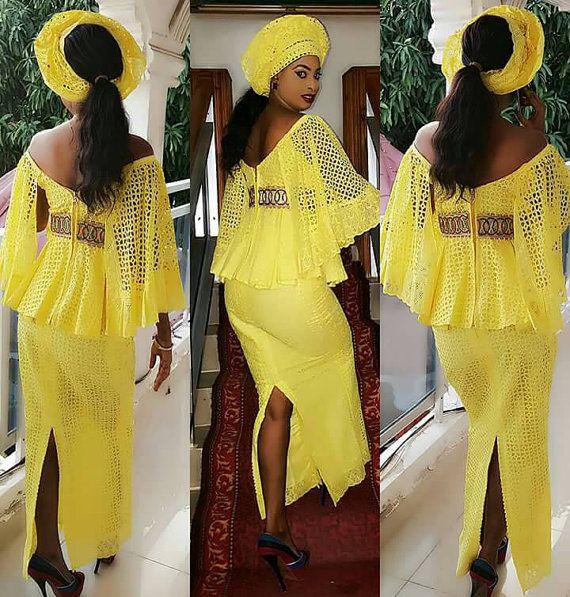 jupe et top dentelle africain jaune tenues africaines pinterest jaune jupes et dentelle. Black Bedroom Furniture Sets. Home Design Ideas
