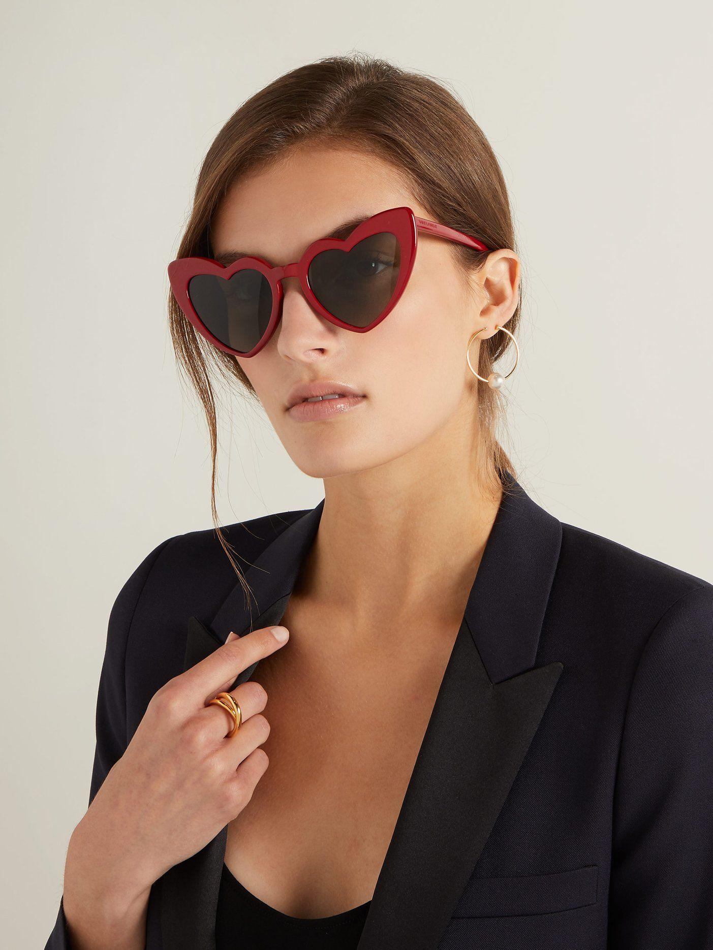Acetate Shaped SunglassesSaint Heart Loulou Laurent XukPZiOT