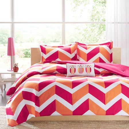 Pink Orange Zig Zag Chevron Teen Girl Bedding Twin Xl Full