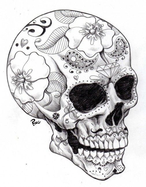 sugar skull coloring pages download printable coloring pages - Skulls Coloring Pages